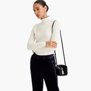 J Crew Ribbed Turtleneck with Navy Piping